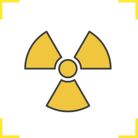 Radiation sign color icon. Radioactive danger symbol. Nuclear energy. Isolated vector illustration Imagens - 81579565