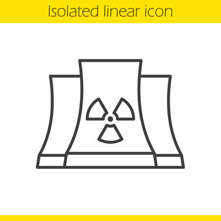 chernobyl: Nuclear power plant linear icon. Thin line illustration. Radiation contour symbol. Vector isolated outline drawing Illustration