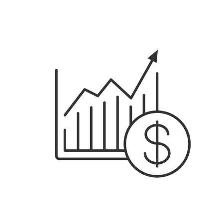 Wykres wzrostu rynku liniowy ikona ilustracja cienka linia. Statystyka diagram z symbolem konturu dolara w wektor na białym tle zarys rysunku
