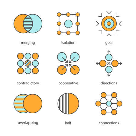 contradictory: Abstract symbols color icons set. Merging, isolation, goal, contradictory, cooperative, directions, overlapping, half, connections concepts. Isolated vector illustrations