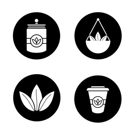 Tea glyph icons set. Loose tea leaves in bulk, disposable paper cup, container. Vector white silhouettes illustrations in black circles