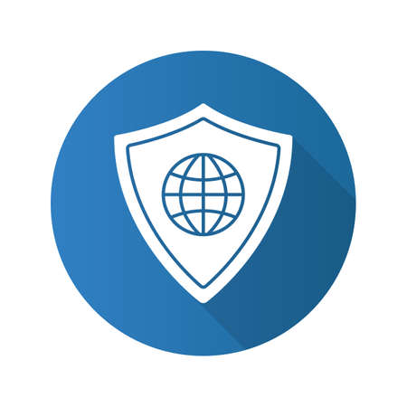 space program: Network security flat design long shadow glyph icon. Protection shield with globe model. Vector silhouette illustration