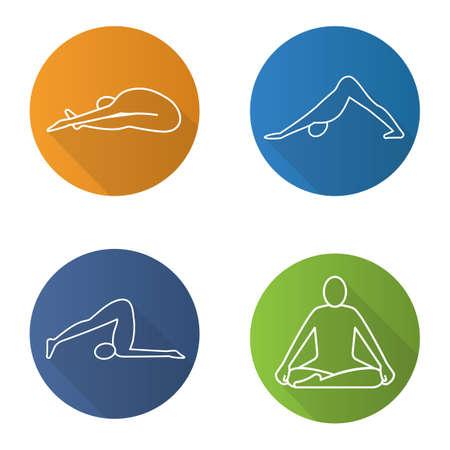 Yoga asanas flat linear long shadow icons set. Paschimottanasana, halasana, adho mukha svanasana, siddhasana yoga positions. Vector line illustration