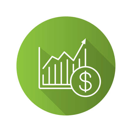 us currency: Market growth chart flat linear long shadow icon. Statistics diagram with dollar sign. Vector outline symbol