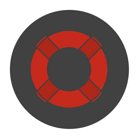 survive: Life ring glyph color icon. Lifebuoy silhouette symbol on a black background in negative space Vector illustration