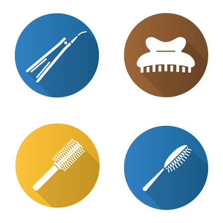 Women's hair accessories in flat design long shadow icons set: Hairbrushes, straightener, claw hair clip Vector silhouette illustration