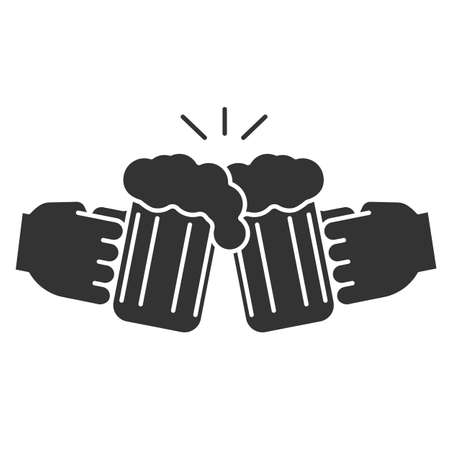 Cheers glyph icon silhouette symbol. Hands holding toasting beer glasses in negative space Vector isolated illustration Çizim