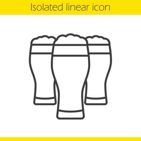 Icono lineal de vasos de cerveza en la ilustración de línea delgada. Contorno símbolo vector aislado dibujo esquemático Foto de archivo - 81581315