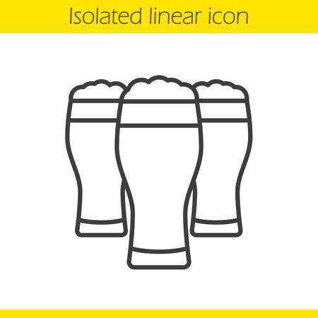 Beer glasses linear icon in thin line illustration. Contour symbol vector isolated outline drawing Illustration