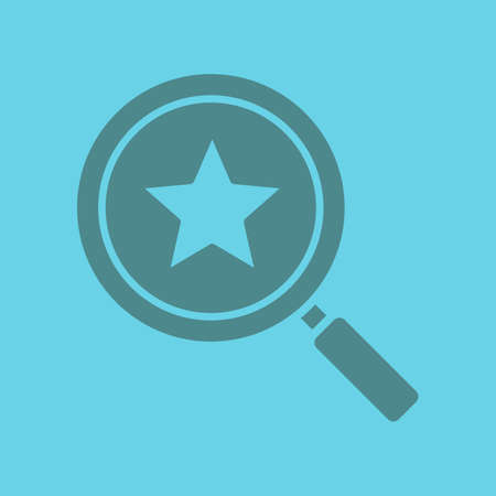 Magnifying glass with star glyph color icon. Silhouette symbol. Negative space. Vector isolated illustration Illustration