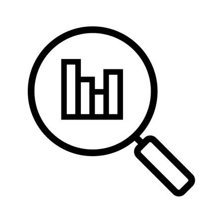 Statistics search linear icon. Thin line illustration. Magnifying glass with growth chart. Digital charts contour symbol. Vector isolated outline drawing