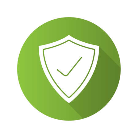 firewall: Security check flat design long shadow icon. Protection shield with tick mark. Vector silhouette symbol