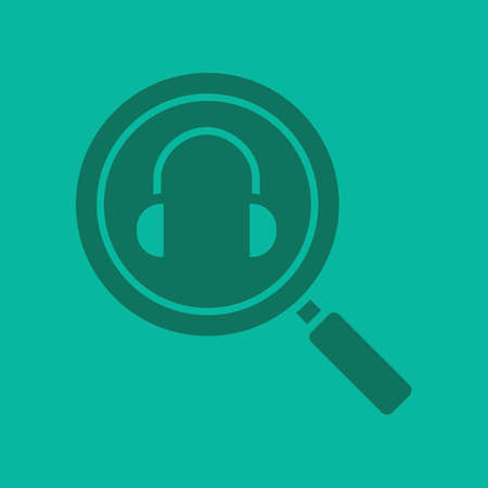 mp3: Online music search glyph color icon. Silhouette symbol. Magnifying glass with headphones. Negative space. Vector isolated illustration