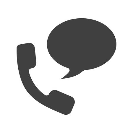 handset: Phone talk glyph icon. Silhouette symbol. Handset with chat box. Negative space. Vector isolated illustration Illustration
