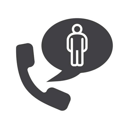 handset: Phone talk about man glyph icon. Silhouette symbol. Handset with man inside speech bubble. Negative space. Vector isolated illustration