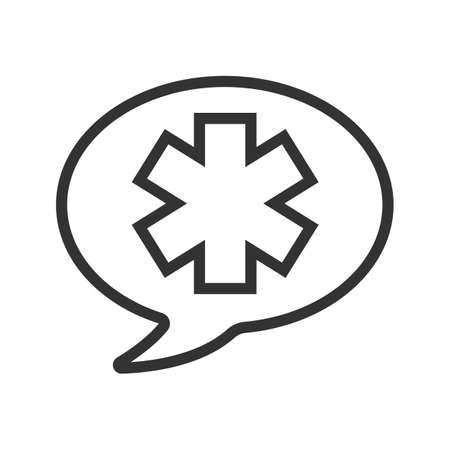 Talk about medicine linear icon. Thin line illustration. Chat box with star of life inside. Contour symbol. Vector isolated outline drawing