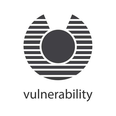 Vulnerability glyph icon. Silhouette symbol. Abstract metaphor. Negative space. Vector isolated illustration