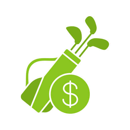 Golf equipment shop glyph icon. Silhouette symbol. Golf bag with clubs and dollar sign. Negative space. Vector isolated illustration