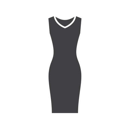 Evening dress glyph icon. Silhouette symbol. Womens sleeveless gown. Negative space. Vector isolated illustration