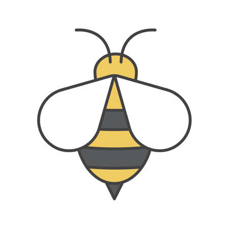 Honey bee color icon. Wasp. Apiary sign. Isolated vector illustration