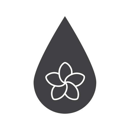Aromatherapy oil drop glyph icon. Silhouette symbol. Spa salon oil drop with plumeria flower inside. Negative space. Vector isolated illustration