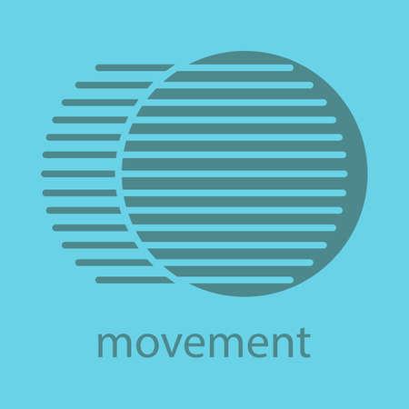 Icono de color de glifo de movimiento. Símbolo de silueta Concepto de movimiento dinámico. Espacio negativo. Vector ilustración aislada