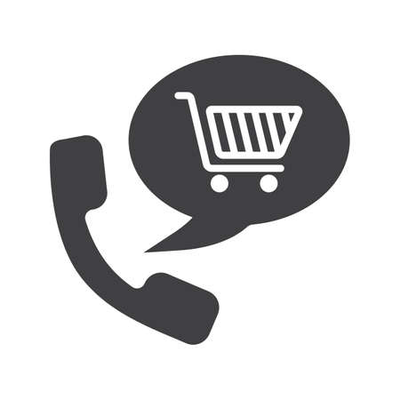 Goods phone order glyph icon. Silhouette symbol. Shopping by phone. Handset with shopping cart inside speech bubble. Supermarket products delivery. Negative space. Vector isolated illustration