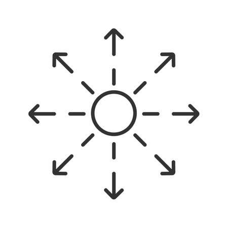 線形アイコンを広がっています。細い線の図。配布抽象的な比喩、輪郭のシンボルです。ベクトル分離外形図