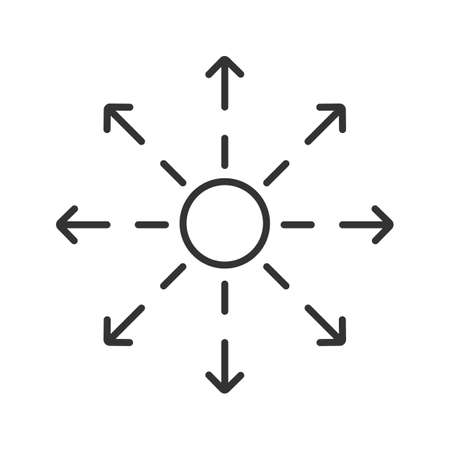 Spreading linear icon. Thin line illustration. Distribution abstract metaphor contour symbol. Vector isolated outline drawing Vectores