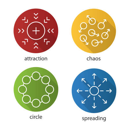 Abstract symbols flat linear long shadow icons set. Attraction, chaos, circle, spreading concepts. Vector outline illustration