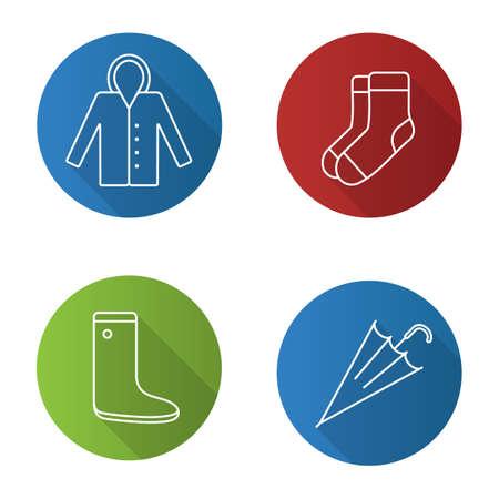 Autumn clothes flat linear long shadow icons set. Raincoat, warm socks, watertight, closed umbrella. Vector outline illustration