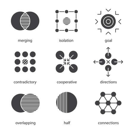 contradictory: Abstract symbols glyph icons set. Silhouette symbols. Merging, isolation, goal, contradictory, cooperative, directions, overlapping, half, connections concepts. Vector isolated illustration