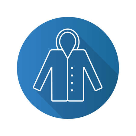 Raincoat flat linear long shadow icon. Waterproof coat. Vector outline symbol Illustration