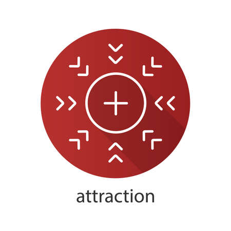 Attraction symbol flat linear long shadow icon. Positively charged electron. Vector outline symbol Illustration