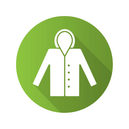Raincoat flat design long shadow glyph icon. Waterproof coat. Vector silhouette illustration Illustration