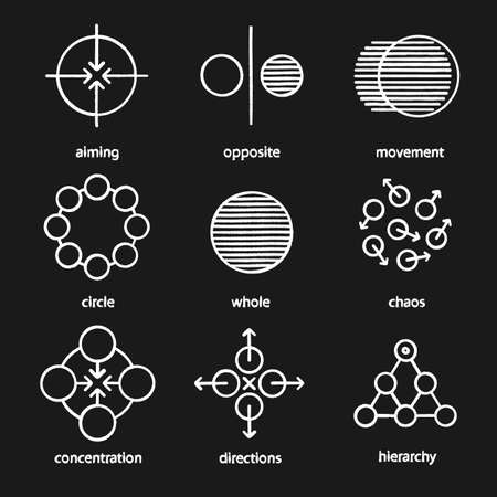 Abstract symbols chalk icons set. Aiming, opposite, movement, circle, whole, chaos, concentration, directions, hierarchy. Isolated vector chalkboard illustrations