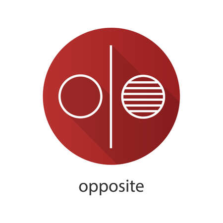 Opposite symbol flat linear long shadow icon. Opponents abstract metaphor. Division. Vector outline symbol Stok Fotoğraf - 81783071
