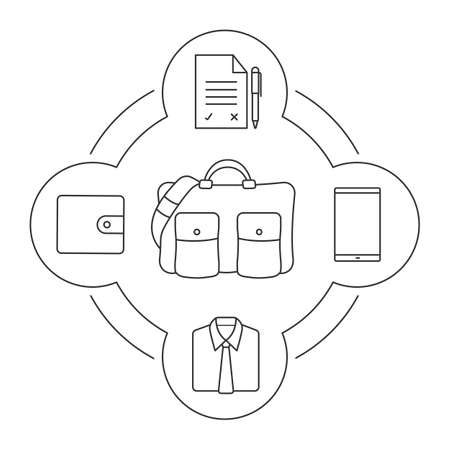 treaty: Businessmans travel bag contents linear icons set. Smartphone, contract with pen, shirt and tie, wallet. Isolated vector illustrations Illustration