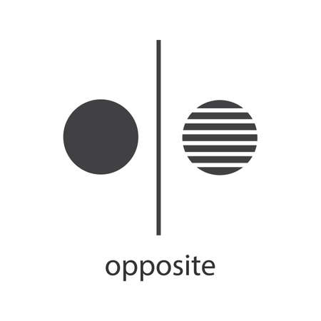 Opposite symbol glyph icon. Separation silhouette symbol. Opponents abstract metaphor. Division. Negative space. Vector isolated illustration