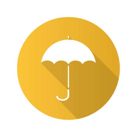 gamp: Umbrella flat design long shadow glyph icon. Opened rain umbrella. Vector silhouette illustration Illustration