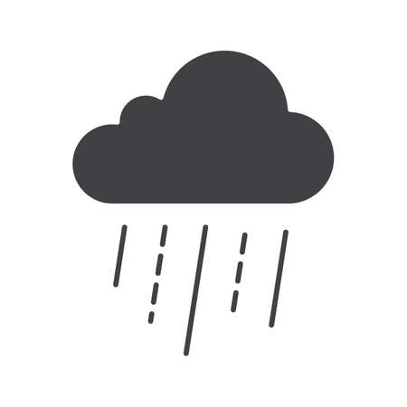 bad weather: Rainy cloud glyph icon. Silhouette symbol. Negative space. Vector isolated illustration