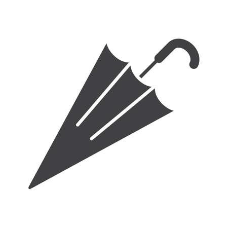 gamp: Closed umbrella glyph icon. Silhouette symbol. Negative space. Vector isolated illustration