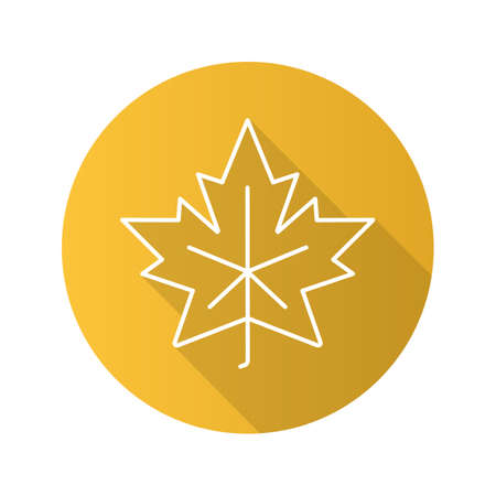 attribute: Maple leaf flat linear long shadow icon. Vector outline symbol Illustration