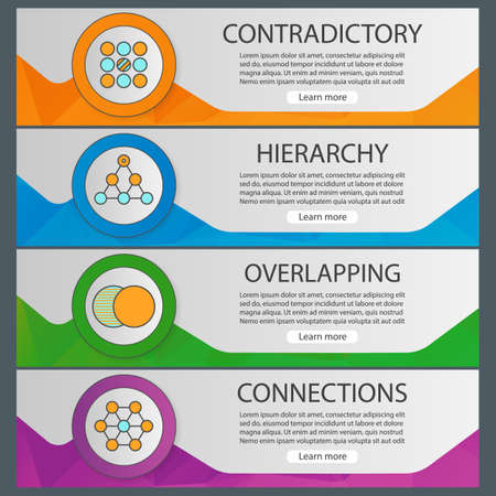 abstract symbols banner templates set contradictory hierarchy