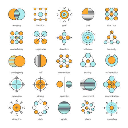 Abstract symbols color icons set. Logo ideas for business, science, IT industries. Half, connections, sharing, expansion, opposite, movement, concentration, spreading. Isolated vector illustrations
