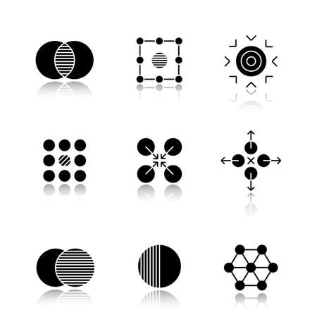 contradictory: Abstract symbols drop shadow black glyph icons set. Merging, isolation, goal, contradictory, cooperative, directions, overlapping, half, connections concepts. Isolated vector illustrations Illustration
