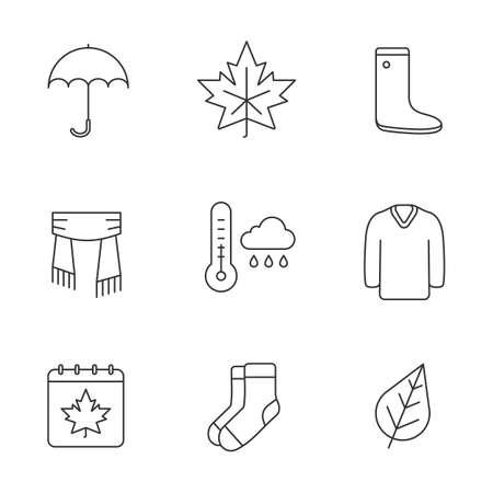 Autumn season linear icons set. Umbrella, warm socks, maple leaf, watertight, scarf, sweater, autumn weather and calendar. Thin line contour symbols. Isolated vector outline illustrations Ilustrace