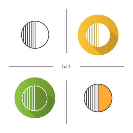 Half symbol icon. Flat design, linear and color styles. Half hatched abstract metaphor. Isolated vector illustrations