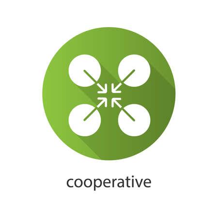 協同組合シンボル フラット デザイン長い影グリフ アイコン。協力とチームワークの抽象的な比喩。ベクター シルエット イラスト  イラスト・ベクター素材