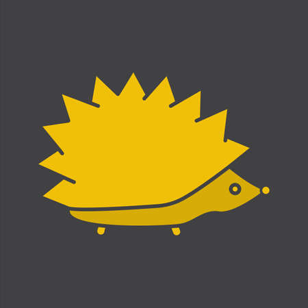 Hedgehog glyph color icon. Urchin. Silhouette symbol on black background. Negative space. Vector illustration